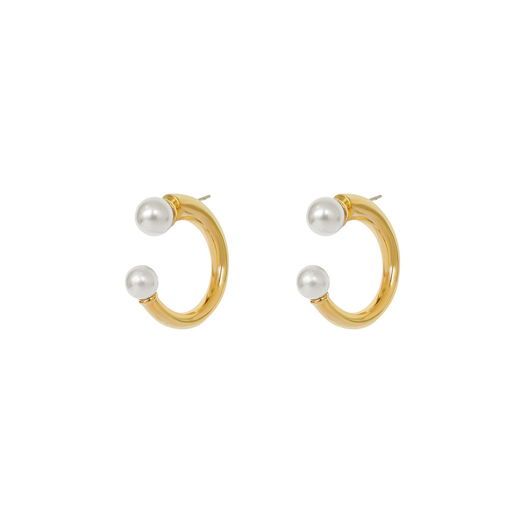 MANDY PEARL GOLD HOOP EARRINGS