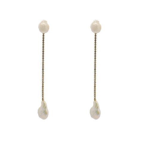 MIRA GOLD FRESHWATER PEARL DROP EARRINGS