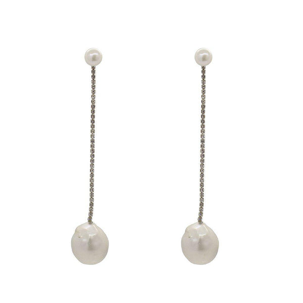 MIRA LARGE SILVER FRESHWATER PEARL DROP EARRINGS