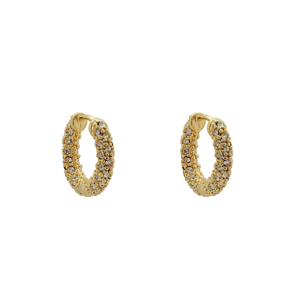 MITALI GOLD CRYSTAL CLUSTER HOOP EARRINGS