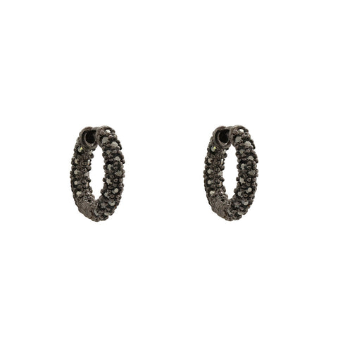 MITALI GUNMETAL CRYSTAL CLUSTER HOOP EARRINGS