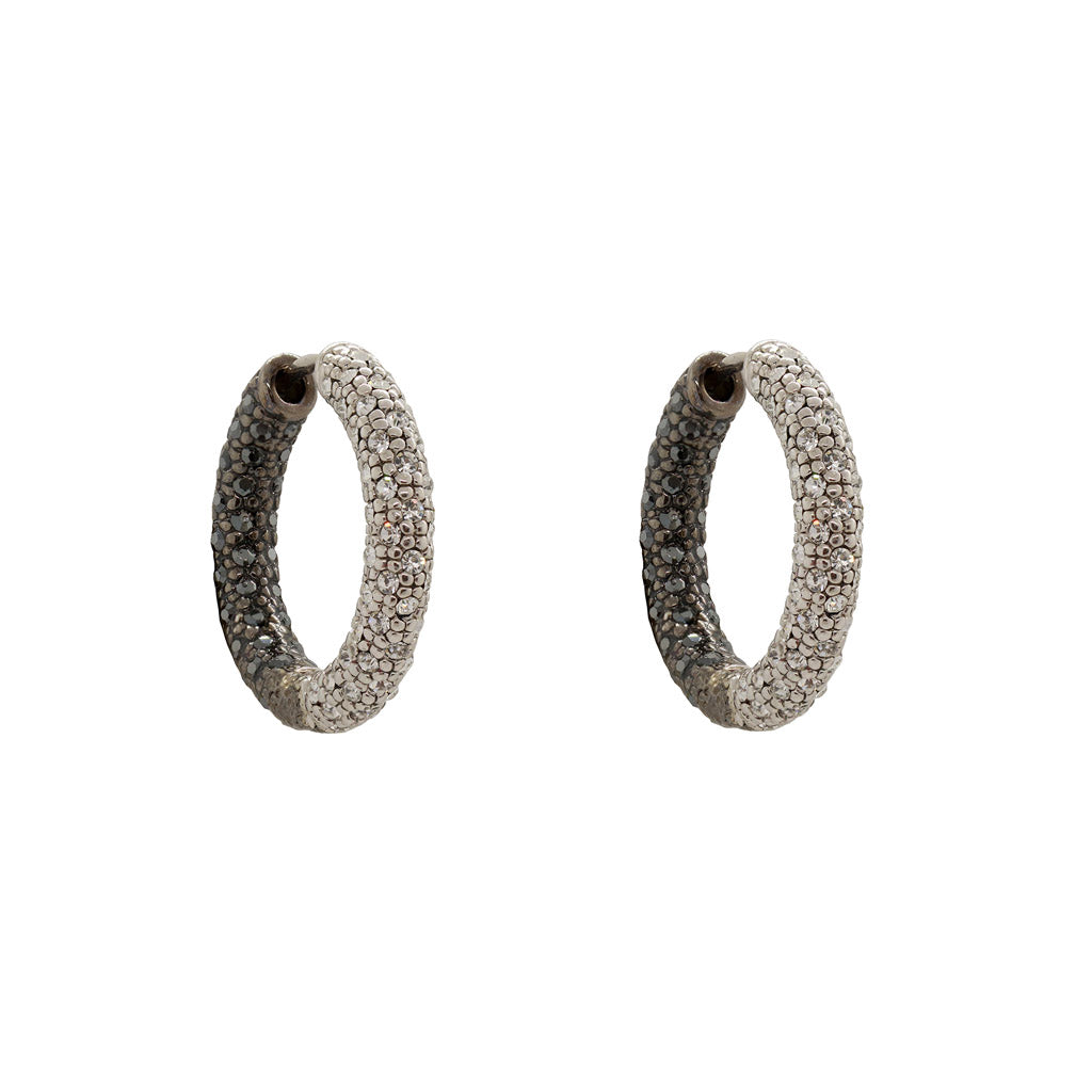 MITALI TWO TONE CLEAR & BLACK CRYSTAL CLUSTER HOOPS