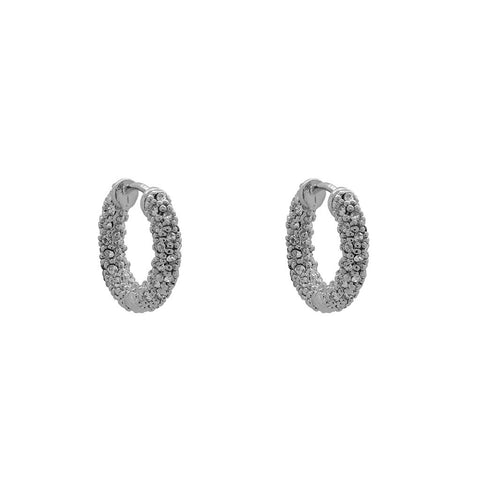 MITALI SILVER CRYSTAL CLUSTER HOOP EARRINGS