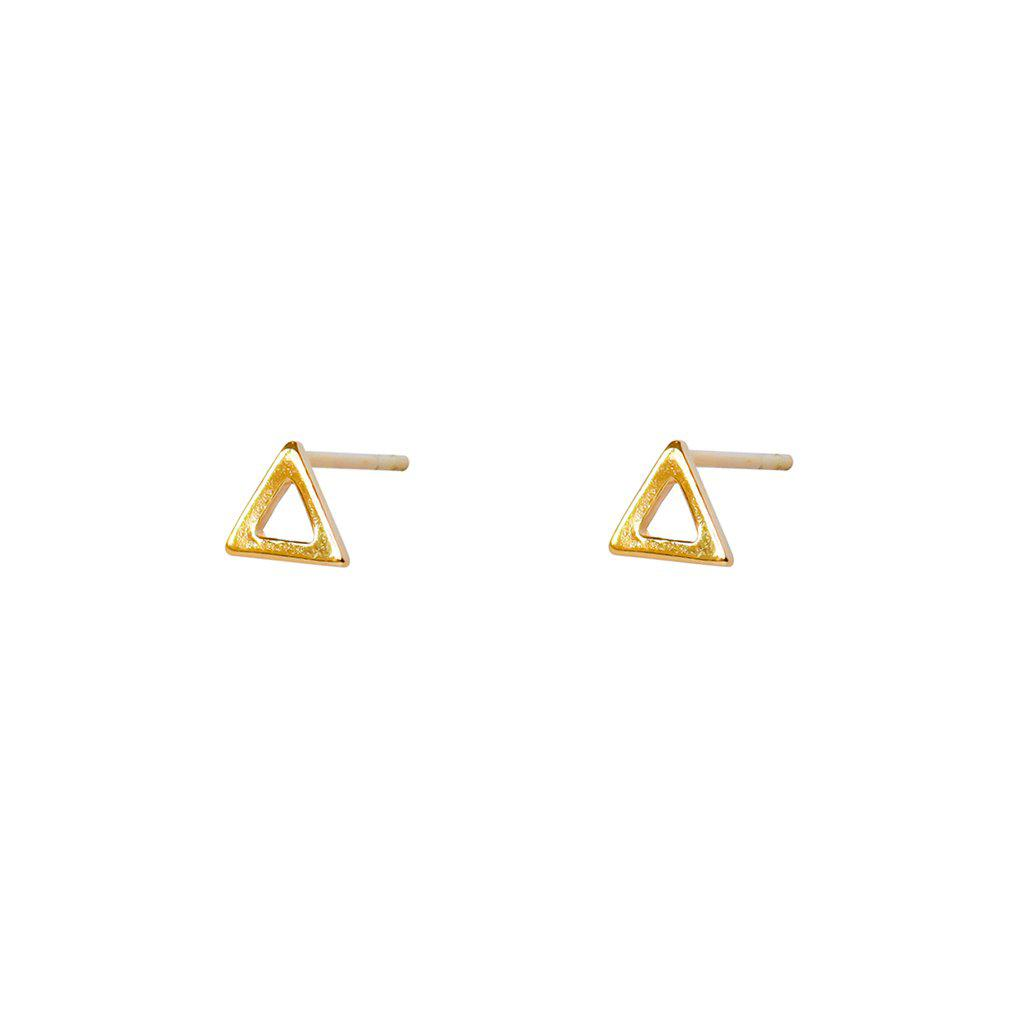 NEIMA HOLLOW TRIANGLE 2MICRON GOLD PLATED STUDS