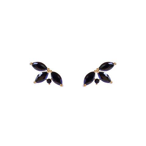 NESTI LEAF RHODIUM CRYSTAL LEAF BLACK STUD