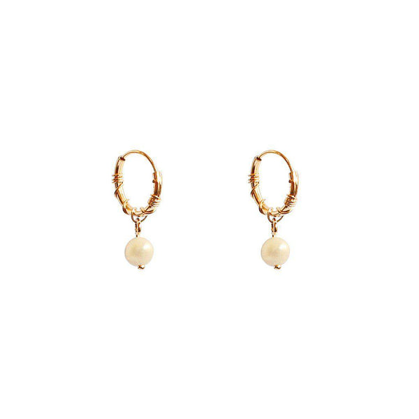 NISA FRESHWATER PEARL GOLD EARRINGS