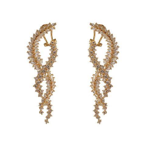 NISHA GOLD CRYSTAL TWIST DROP EARRINGS