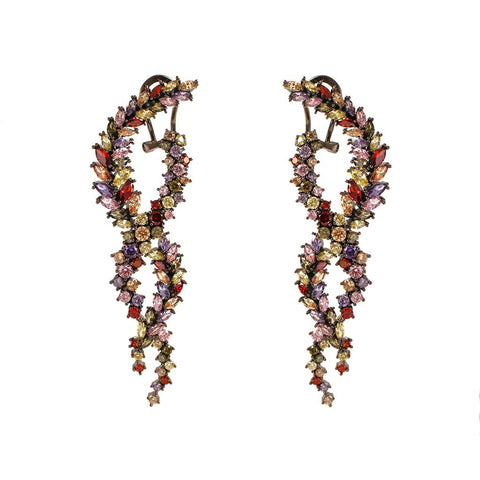NISHA MULTI-COLOUR CRYSTAL TWIST DROP EARRINGS