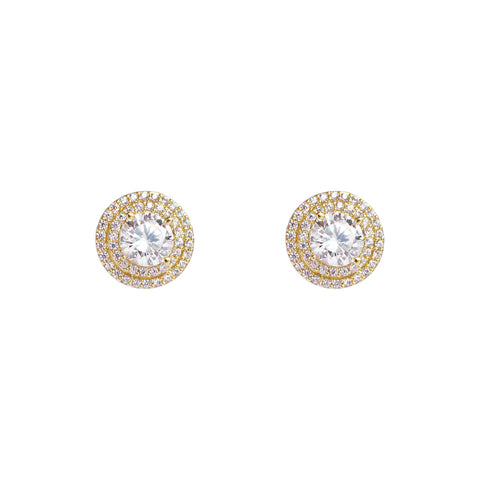 OLEAH CRYSTAL GOLD STUD EARRINGS