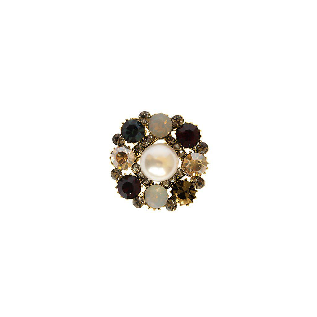 OSAZE PEARL COLOURFUL CRYSTALS BROOCH