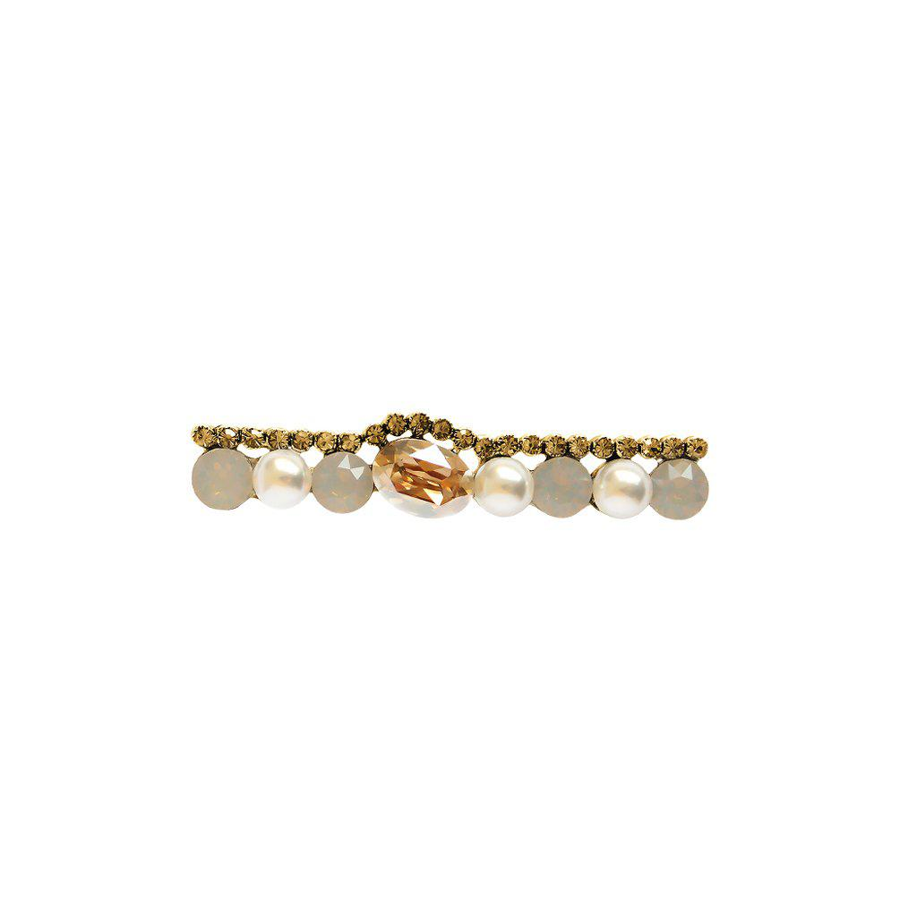 OSYKA PEARL AND BEIGE CRYSTAL BROOCH