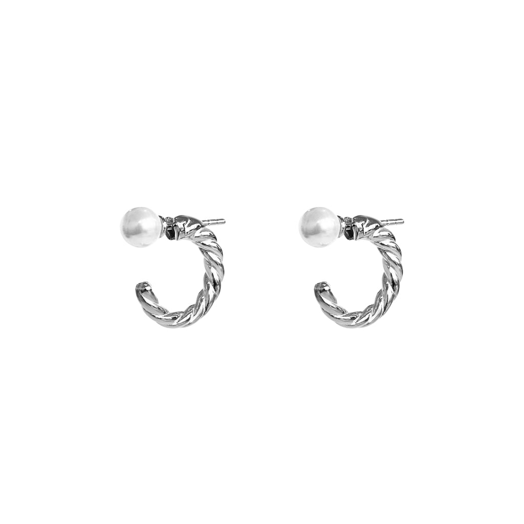 PAITYN FRESHWATER PEARL STERLING SILVER HOOP EARRINGS