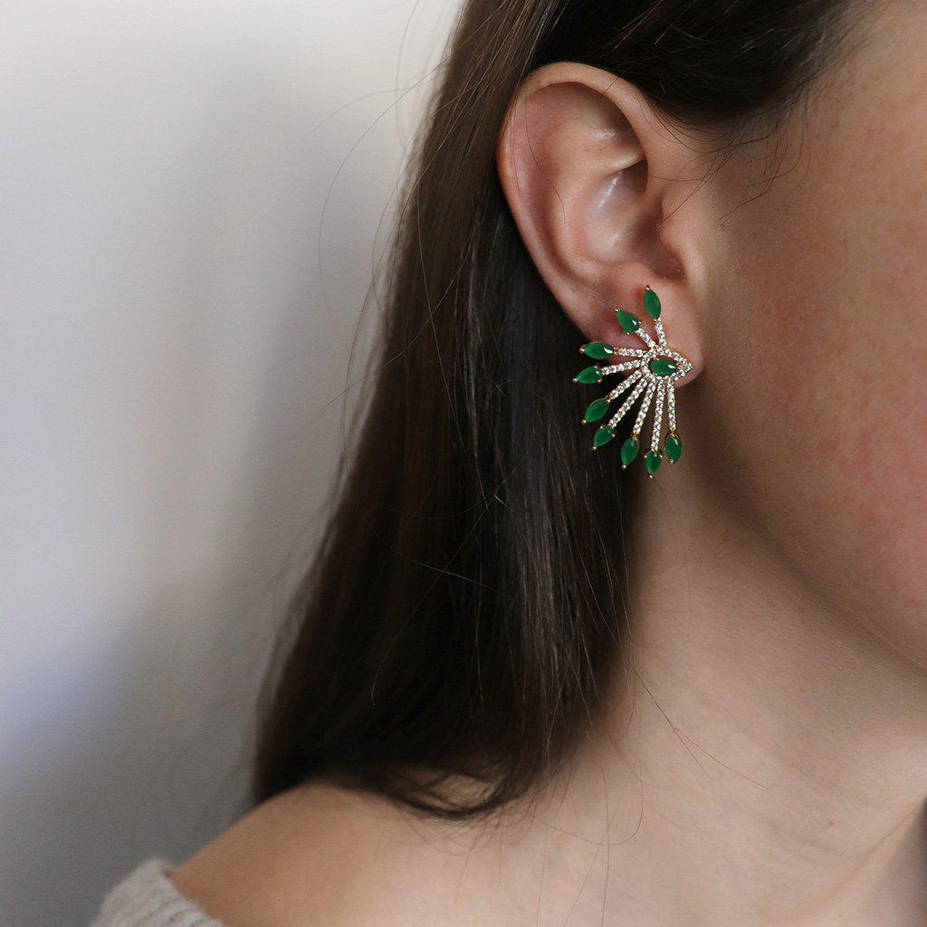 PAON GREEN CRYSTAL GOLD EARRINGS
