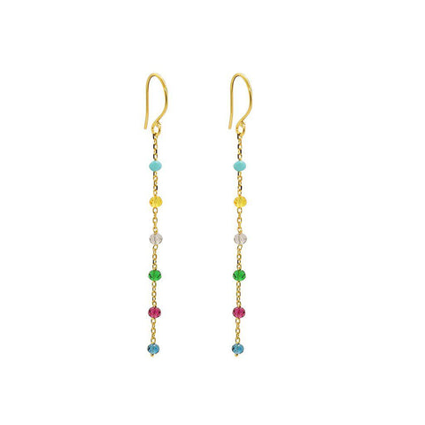 RIAN MULTI COLOURED THREAD GOLD EARRINGS