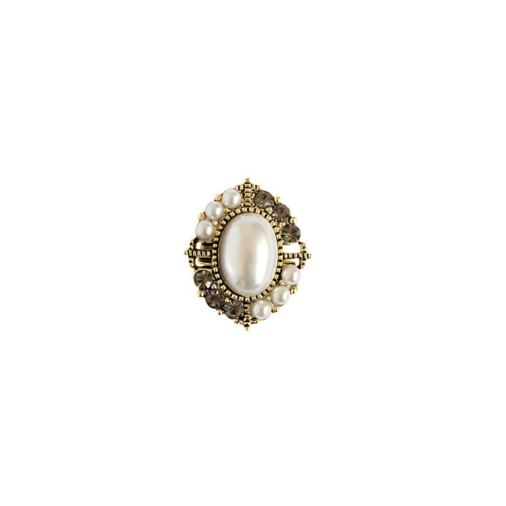 RIDGE PEARL AND CRYSTAL BROOCH