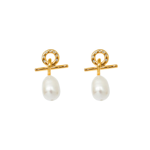 RILEY FRESHWATER PEARL GOLD EARRINGS