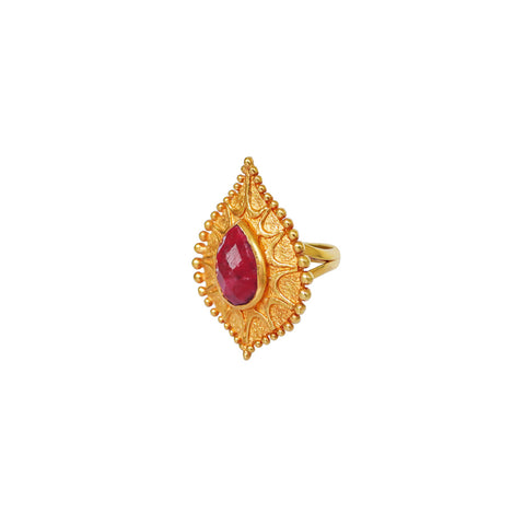 RITA ROUGH RUBY 2 MICRON GOLD RING