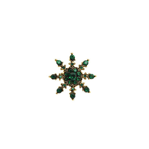 ROAN FLOWER GREEN CRYSTAL BROOCH