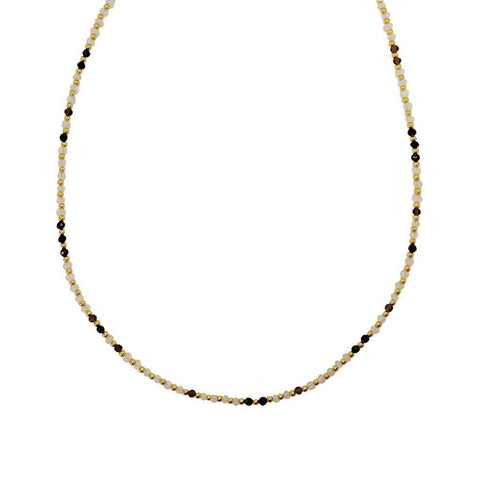 RAEGAN ONYX/SMOKY QUARTZ/MOONSTONE SEMI-PRECIOUS STONE NECKLACE