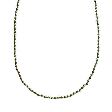 RAEGAN 2 MICRON GOLD SEMI-PRECIOUS MALACHITE NECKLACE