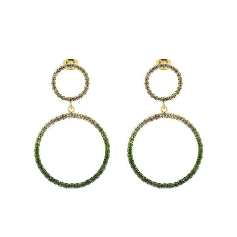 RAKELA GREEN CRYSTALS DROP EARRINGS