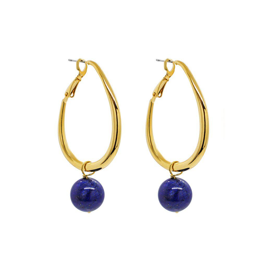 RIGMOR GOLD HOOP LAPIS EARRINGS