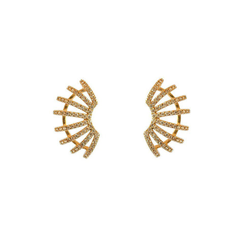 ROMOLA GOLD CRYSTAL EAR JACKET EARRINGS