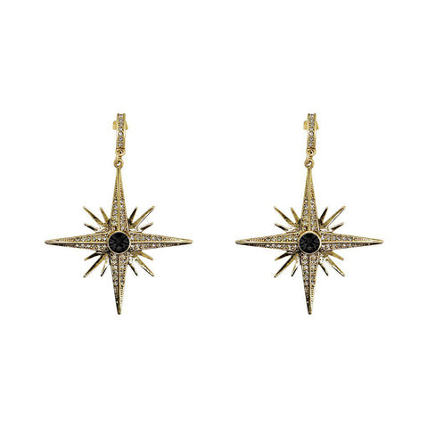 RORA LARGE STAR BLACK CRYSTAL EARRINGS