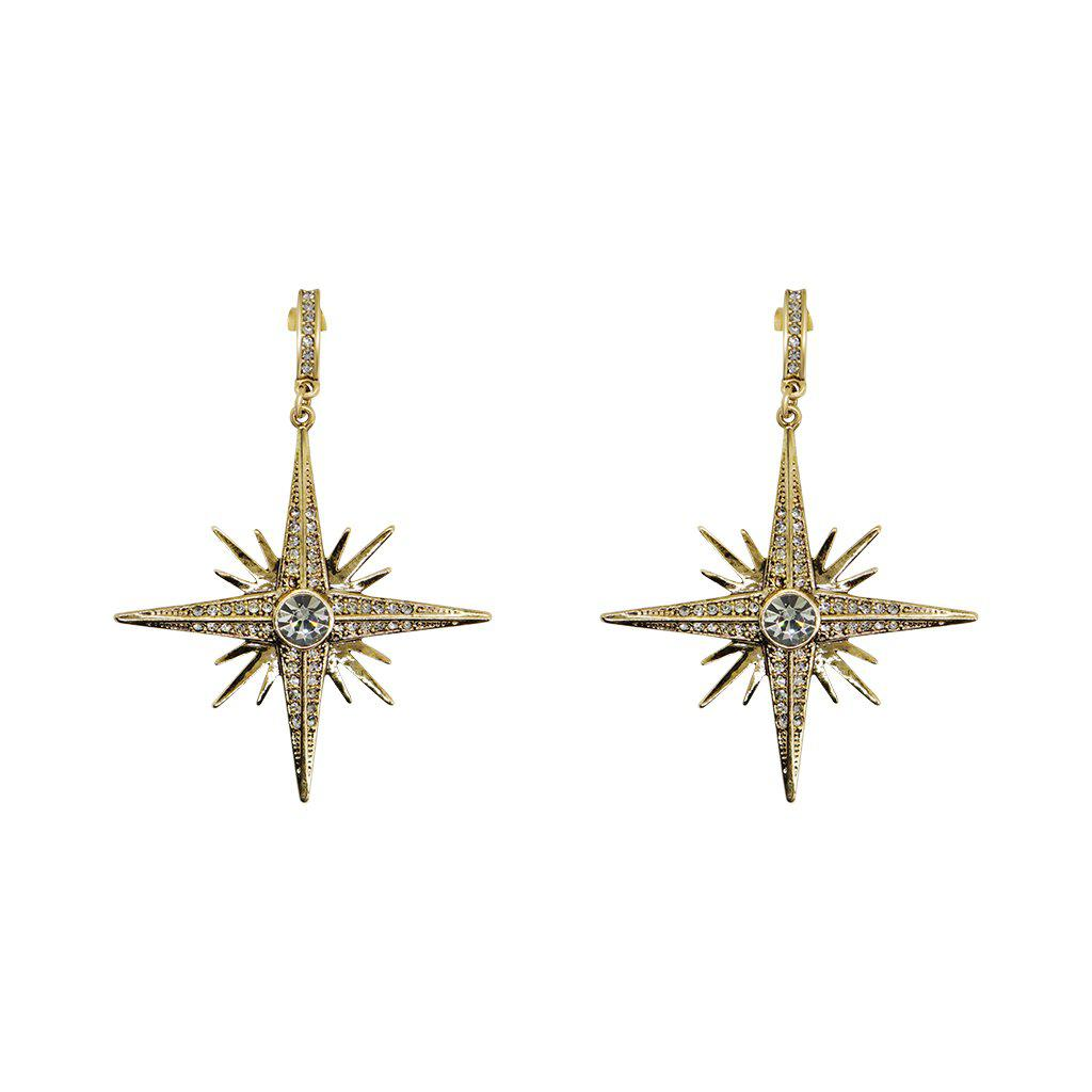 RORA LARGE GREY STAR ANTIQUE EARRINGS