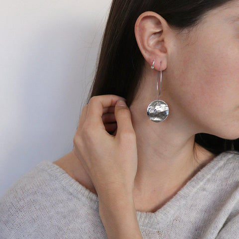 RUTH DISC RHODIUM EARRINGS
