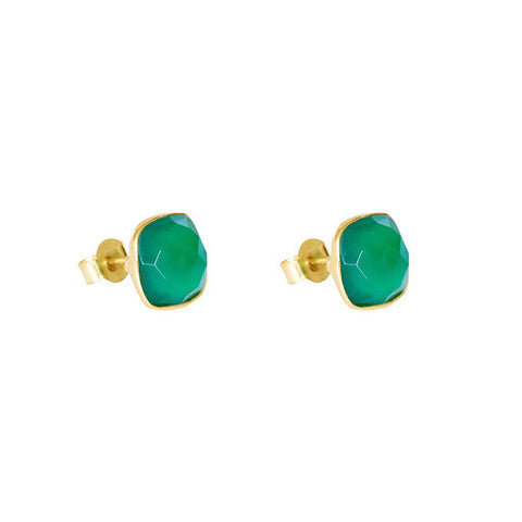 SAORISE GREEN AGATE SEMI-PRECIOUS STUDS EARRINGS