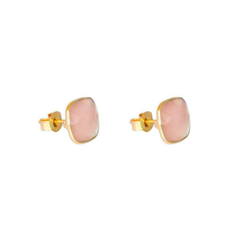 SAORISE ROSE-QUARTZ SEMI-PRECIOUS STUDS EARRINGS