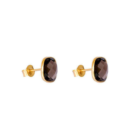 SAORISE SMOKEY-QUARTZ SEMI-PRECIOUS STUDS EARRINGS