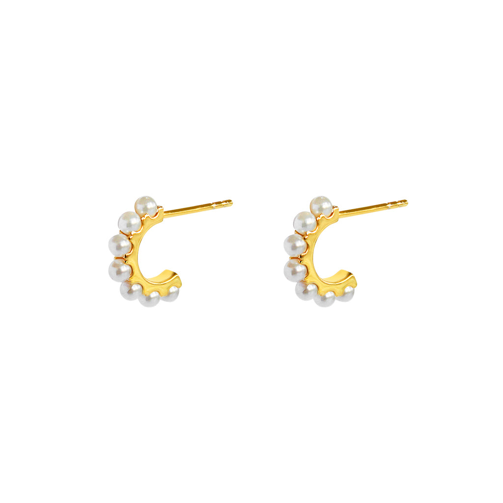 SARAI FRESHWATER PEARL GOLD HOOP EARRINGS