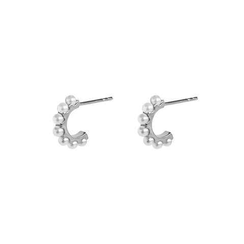 SARAI FRESHWATER PEARL SILVER HOOP EARRINGS