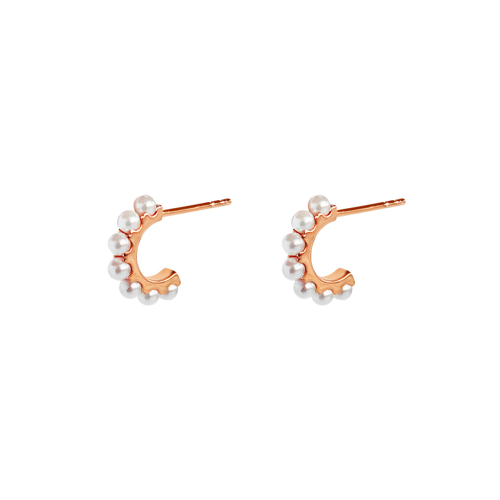 SARAI FRESHWATER PEARL ROSE GOLD HOOP EARRINGS