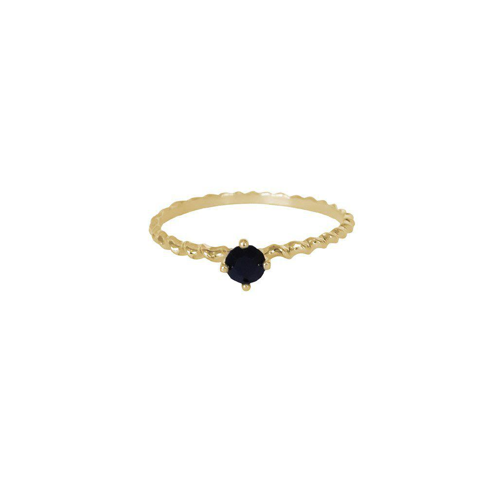 SHAILY BLACK CRYSTAL GOLD FILLED RING