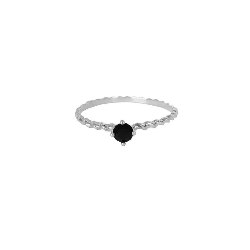 SHAILY BLACK CRYSTAL STERLING SILVER RING