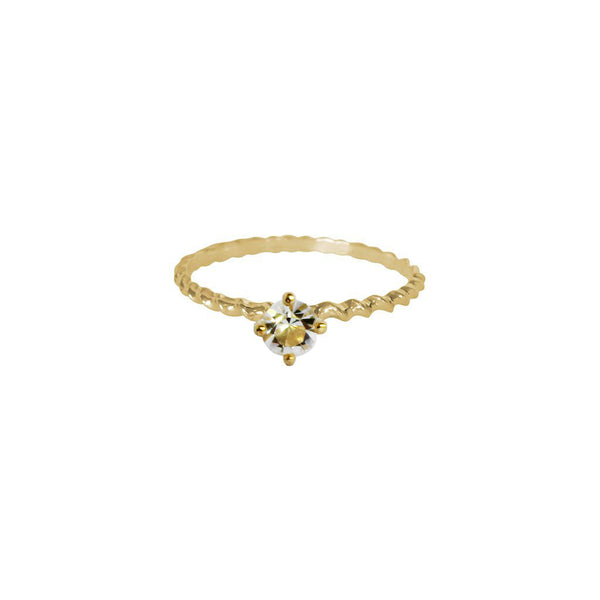 SHAILY CLEAR CRYSTAL GOLD FILLED RING