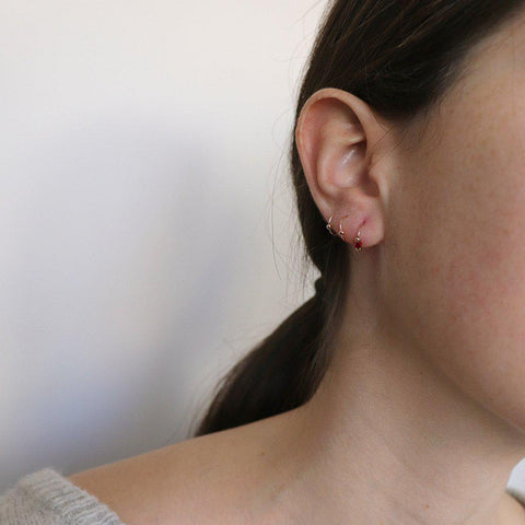 SAMMY RED CRYSTAL SLEEPER EARRING