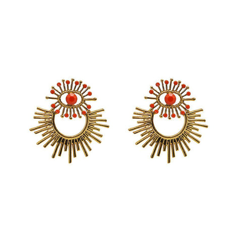SAUIPE ANTIQUE GOLD & ORANGE EARRINGS