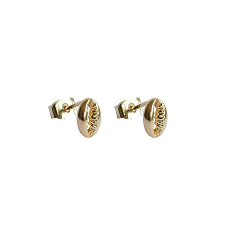 SHELL 2 MICRON GOLD STUD EARRINGS