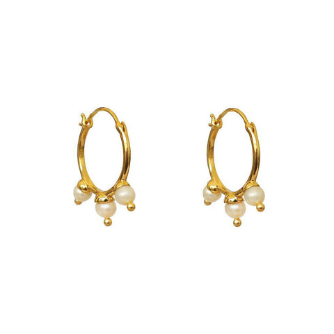 SOCCORO 2 MICRON GOLD FRESHWATER PEARL HOOP EARRINGS