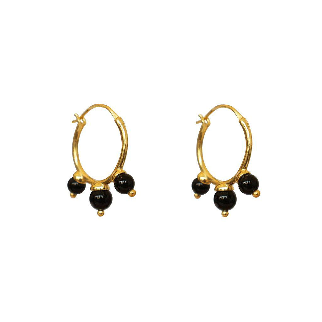 SOCCORO 2 MICRON GOLD ONYX HOOP EARRINGS