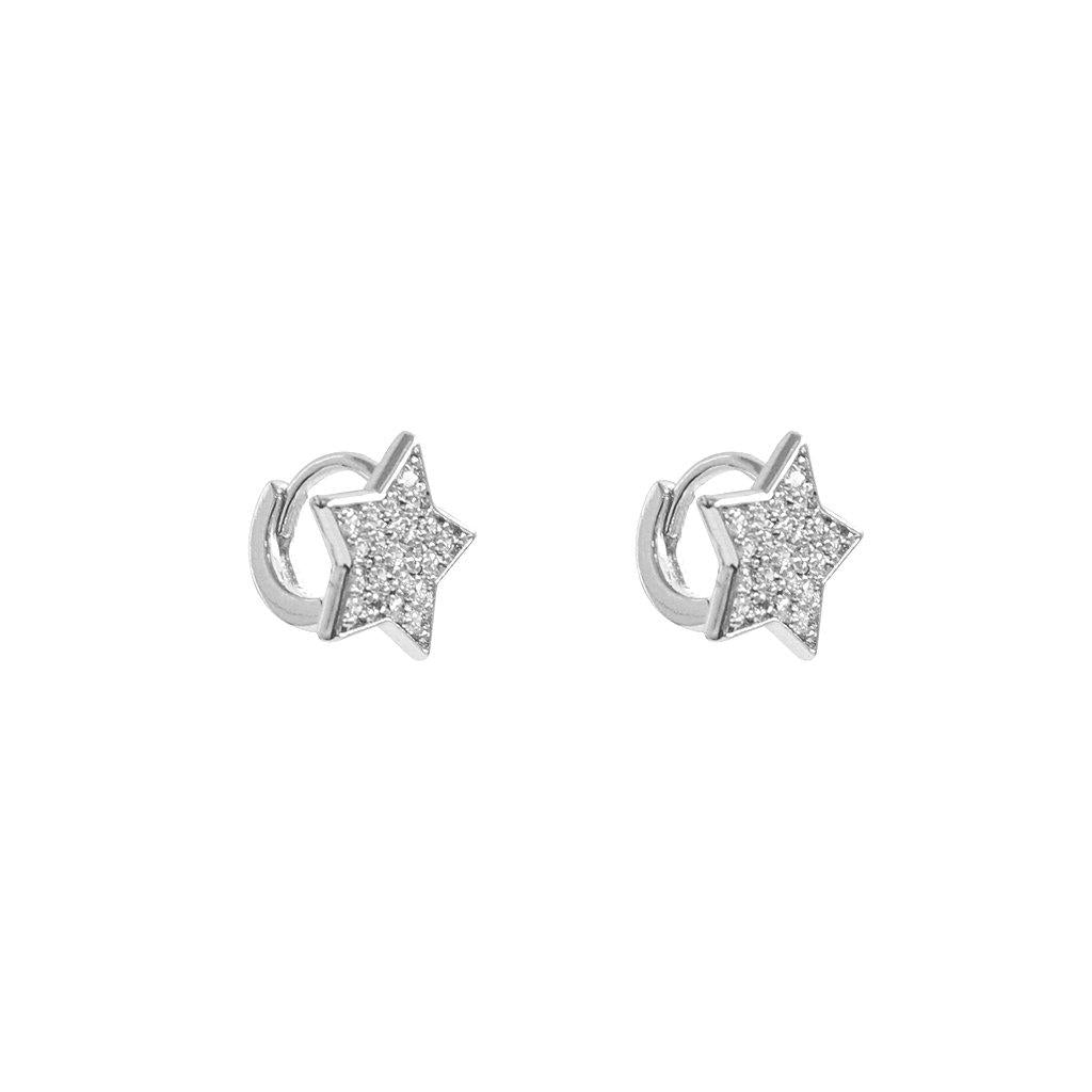 STAR LARGE SILVER CRYSTAL HUGGIES