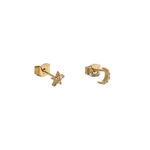 STAR & MOON PAVE GOLD CRYSTAL STUD EARRING