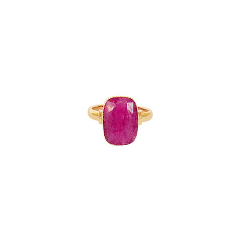 TAZIZ ROUGH RUBY RECTANGLE GOLD FILLED SEMI-PRECIOUS RING