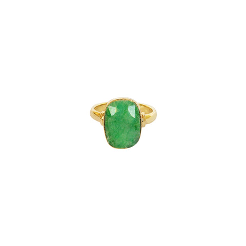 TAZIZ GREEN QUARTZ RECTANGLE GOLD FILLED SEMI-PRECIOUS RING