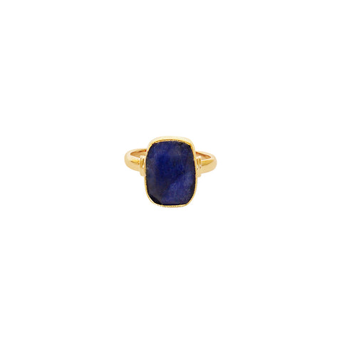 TAZIZ LAPIS RECTANGLE GOLD FILLED SEMI-PRECIOUS RING