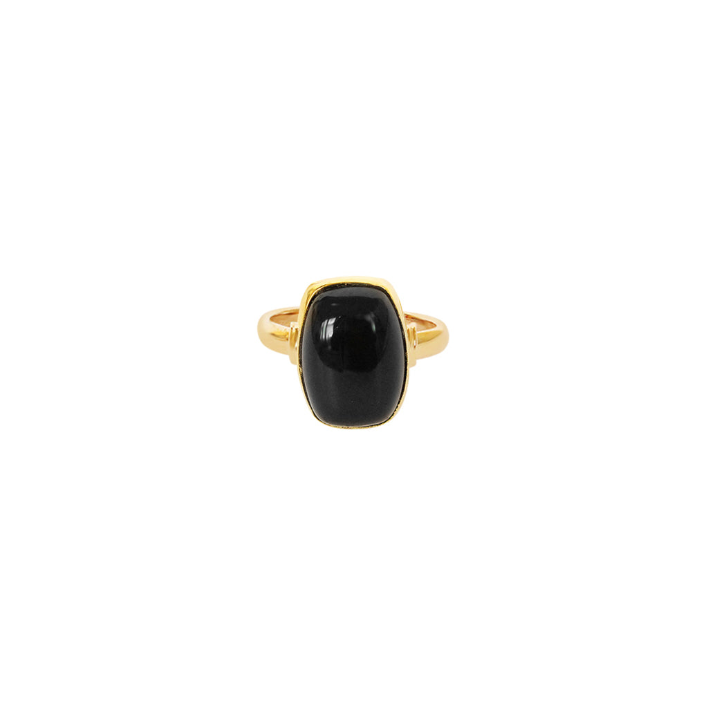 TAZIZ ONYX RECTANGLE GOLD FILLED SEMI-PRECIOUS RING
